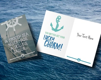 nautical card, a smooth sea, just because card, actual handwriting card, encouragement card, ADD MY TEXT, lucky charm card