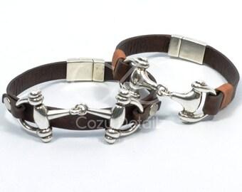 snaffle bit couples bracelets, horse bit bracelet men women, couples western jewelry, couples equestrian bracelets, his hers bracelet