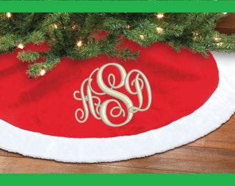 Monogrammed EMBROIDERED Tree Skirt - Design Your Own!