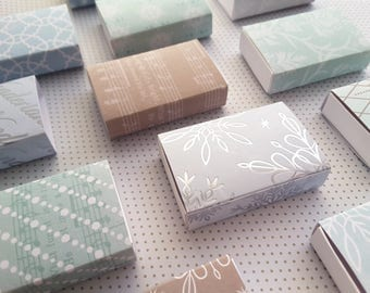 Assorted Holiday patterns matchbox size boxes/ Slide box/ Jewelry Packaging / Gift box / Party favor / Ice Crystals / Set of 12