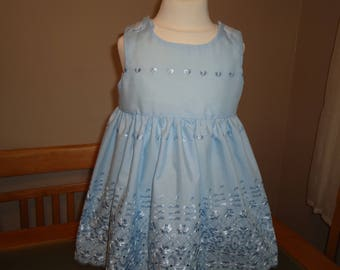 Baby girls stunning pale blue broderie anglaise dress for flower girl ,party, summer, christening