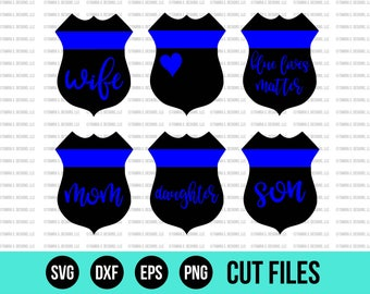 Police Badge SVG - SVG Files - Blue Lives Matter SVG - Cut Files - Cricut Cut Files - Silhouette Cut Files - Occupational svg - Vinyl Design