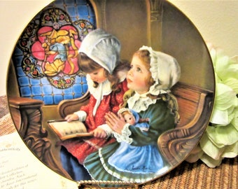 Plate Decorative by Sandra Kuck Giving Thanks Collectible Porcelain Number 3115c0 Vintage blm