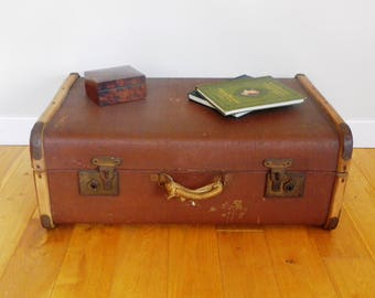 Bentwood Steamer Trunk - small suitcase sized 1920s steamer trunk luggage coffee table