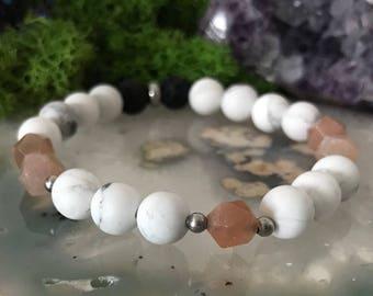 Peach Moonstone Bracelet | Diffuser Bracelet | Essential Oil Bead | Howlite Stretch Bracelet | Lava Stone Bracelet | Essential Oil Bracelet