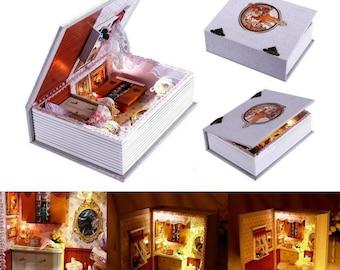 Montage maison bricolage de copines Agenda maison de poupée avec lumière Led, nouveauté livre modèle maison de poupée en bois jouets
