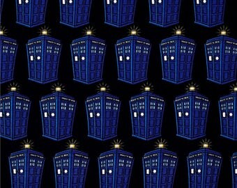 Dr Who Tardis Licensed Cotton Lycra Knit fabric by Springs Creative