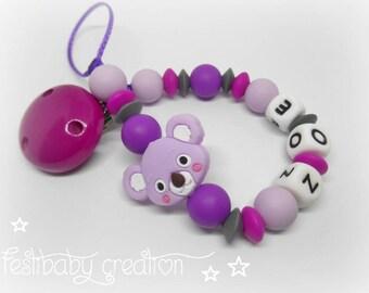 Attache tétine personnalisée tout en silicone ~ modèle koala, cadeau de naissance, perles koala