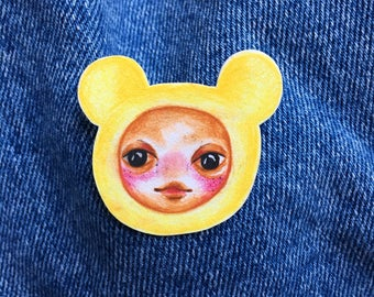 Hand Drawn Little Yellow Bear/Mouse Pin - Original Artwork