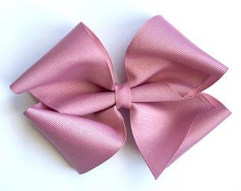 Large mauve boutique hair bow, big mauve purple boutique bow, extra large dusty pink bow, large dusty pink bow clip, mauve jojo bow