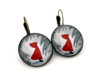 """Earrings sleepers """"the little Red Riding Hood"""" cabochon 20mm"""