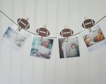 Football First Birthday, Football Party Monthly Photo Banner, Sports First Birthday Party, Football Monthly Pins, N-12 Pictures