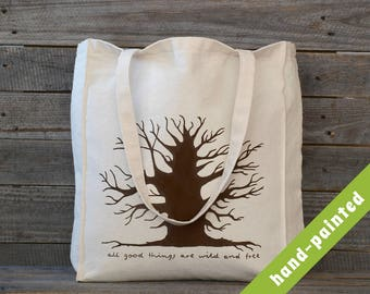 Tree Tote Bag - hand painted/ Forest Tote Bag/ Cotton Bag/ Canvas Bag/ Hand-painted tote bag, Eco bag, Tree Bag,  Tote Bag/ eco bag