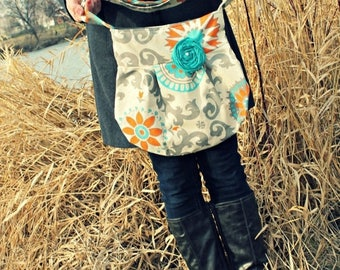 CHRISTMAS SALE CONCEALED Carry Purse-- Grey and Teal Medallion Small Cross Body Ccw Handbag, Conceal Carry Purse, Cute Concealed Carry Handb