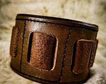 Knotched Brown Leather Cuff, Leather Wrist Cuff, Leather Cuff, Leather Braclet,