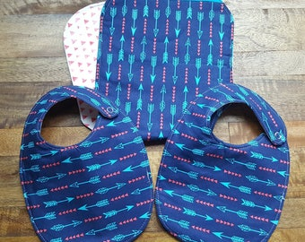 Baby Bib and Burp Cloth Set - Blue Arrows