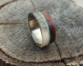 Deer Antler and Cocobolo Wood Ring, Titanium Ring with Turquoise Inlay, Mens Wedding Band, Mens Ring, Womens Ring, Wooden Band, Wood Ring
