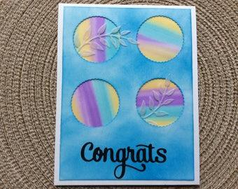 Handmade Greeting Cards:  Congratulations Card. Vellum leaves