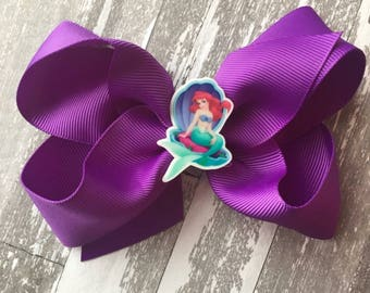 Ariel Hair Bow- Little Mermaid Birthday Party- Little Mermaid Hair Bow - Ariel Bow - Ariel Birthday party- ariel hairbow