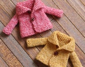 Hand-knitted cardigan with collar for petite blythe