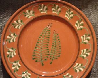 "H & E Pugh, New Salem, N. C. Art Redware Pottery, Plate 10.25"""