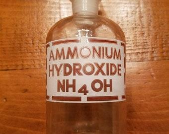 Pyrex Glass Chemical Jar w Stopper    Ammonium Hydroxide