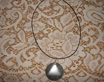 Gray Agate Stone Pendant On A Narrow Black Leather Cord