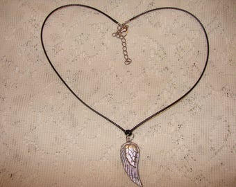 Angel Wing Pendant Necklace On a Black Leather Cord