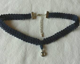 Navy Blue Lace Choker