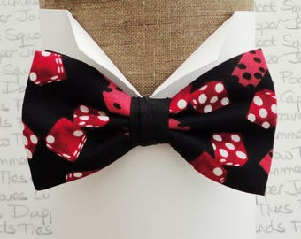 All red dice on a black background pre tied bow tie