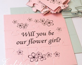 SALE Will you be Flower girl gift card puzzle proposal Ask Flower girl