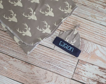 Personalized Baby Newborn Deer Antlers Blanket and Hat with Grey and Navy