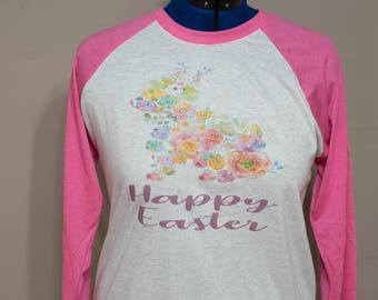 Women's Easter Floral Bunny Raglan Shirt with Heather Grey and Pink Sleeves