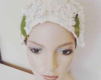 Vintage 1950s Farmers White Swimming Cap Sun Hat with Flowers