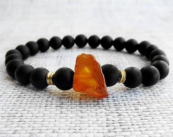 Men amber bracelet Man bracelets Raw amber bracelet Baltic Amber jewelry Healing bracelet Black onyx bracelet Vintage amber Yoga bracelets