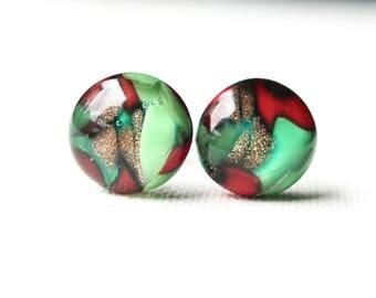 Christmas celebration glass studs, fused glass on titanium posts