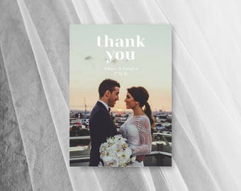 Wedding Thank You Cards PDF Photo Thank You Card Postcard Digital Template