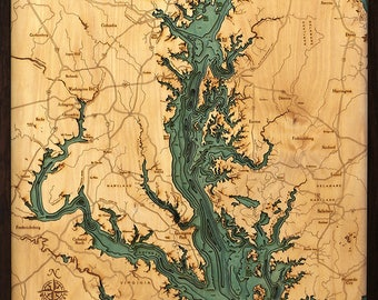 Chesapeake Bay Wood Carved Topographic Depth Map
