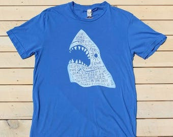Distressed Shark Tee, Block Printed