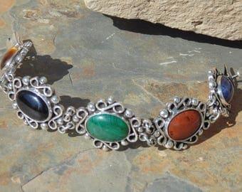 Bernice Goodspeed ~ Vintage Mexican Sterling Silver Multi Stone Link Bracelet - 55 Grams