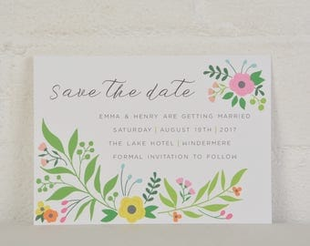 Save the Date, Floral Save the Date, Modern Save the Date, Wedding Stationery, Floral Wedding Stationery