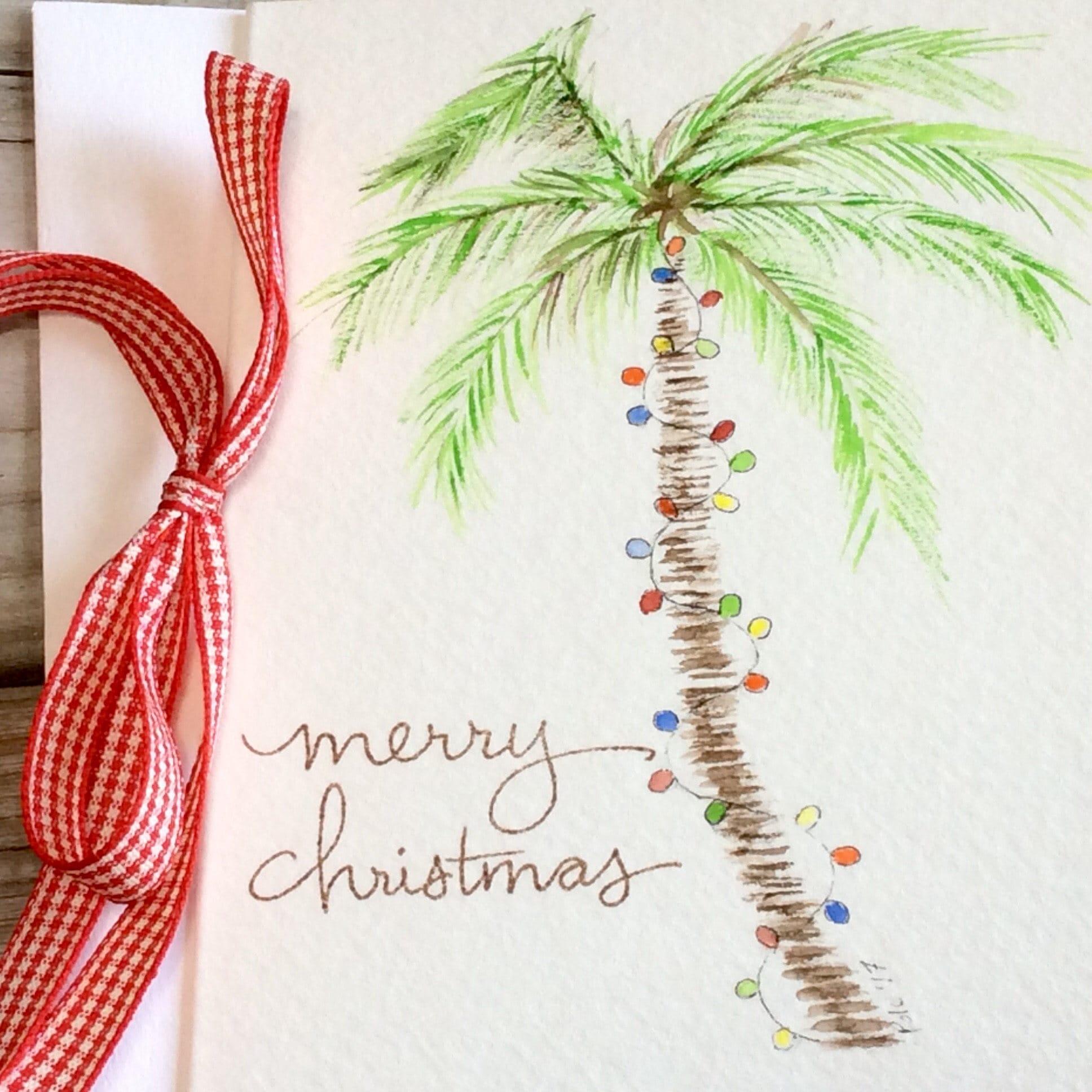 Palm tree Christmas card Beach Holiday greeting card