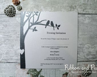 Wedding Love Birds themed Invitation. Wedding Stationery. Wedding Invitation-SAMPLE