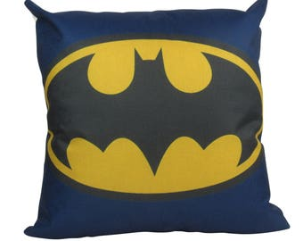 Vintage Batman Blue Emblem - Pillow Cover