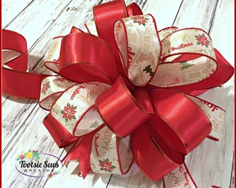 Christmas Red  Cream Bow, Lantern Bow, Package Bow, Gift Bow, Red Poinsettia Christmas Bow, Wreath Bow, Basket Bow, Stair Rail Bow, Swag Bow