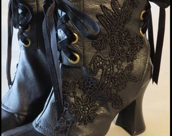 Gothic Spats Genuine Leather Victorian Spats Corset Laceup MADE TO ORDER Steampunk Spats Shoecover Vintage Spats by SweetDarknessDesigns