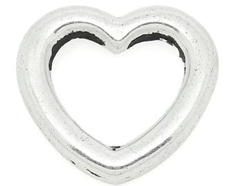 5 charms charm pendant silver heart pendent size 11mm x 10mm REF.: 1 B 28362