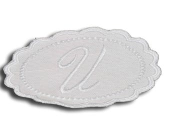 "Embroidery patch ""Letter U"" Monogram white"