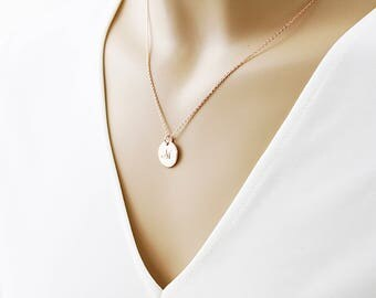 Rose gold Circle Initial Necklace Dainty Circle Necklace Alphabet Necklace Birthday Gift