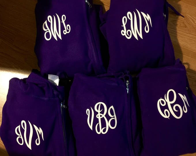 monogram zip up hoodies . Bridesmaid Gifts . Bridesmaid hoodies - set of 5 bridesmaid sweatshirts with monogram on FRONT or BACK